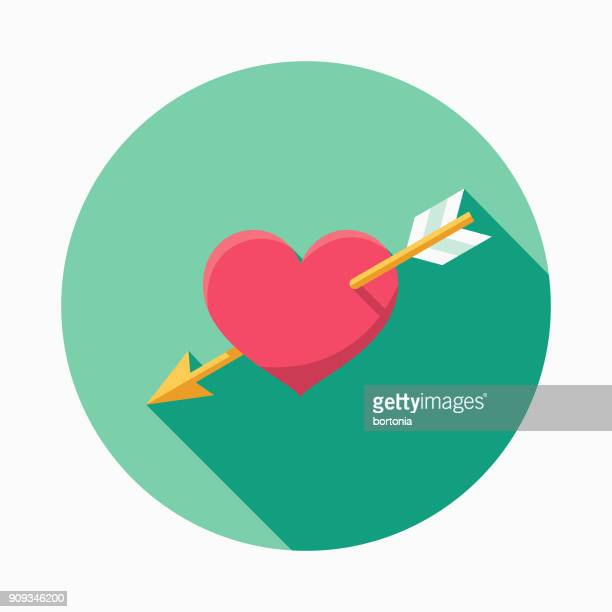Wedding Flat Design Cupid's Arrow Icon with Side Shadow