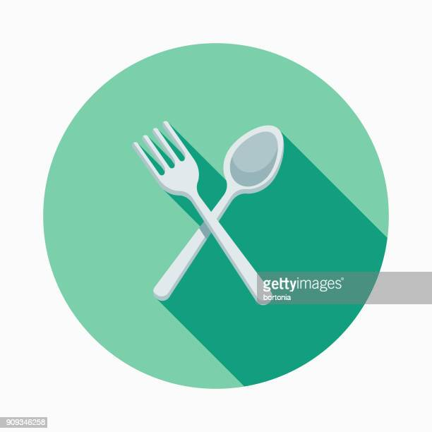 Wedding Flat Design Dining Icon with Side Shadow