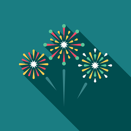 Wedding Flat Design Fireworks Icon with Side Shadow - gettyimageskorea