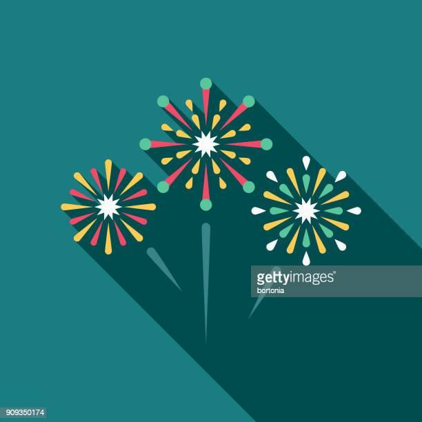 Icono de fuegos artificiales de diseño plano con sombra lateral de la boda
