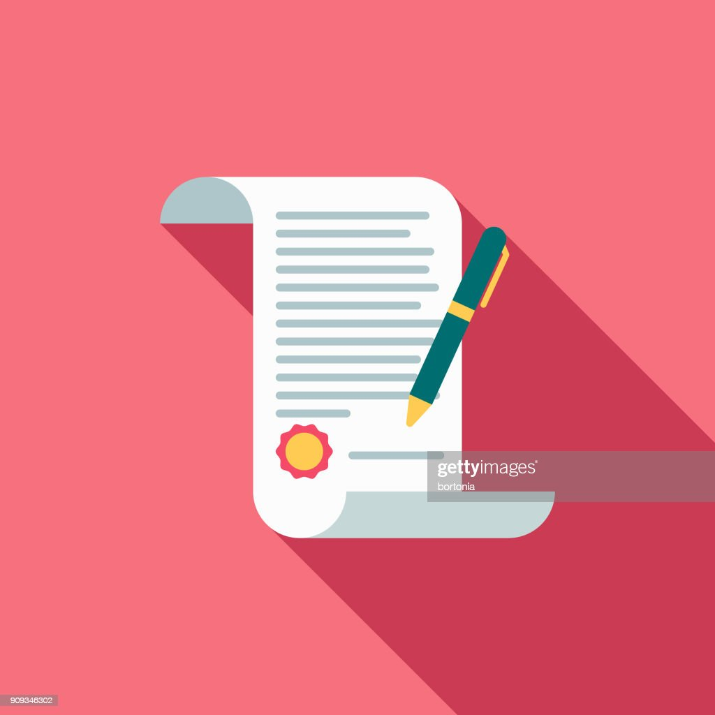 Wedding Flat Design Marriage Contract Icon with Side Shadow : stock illustration