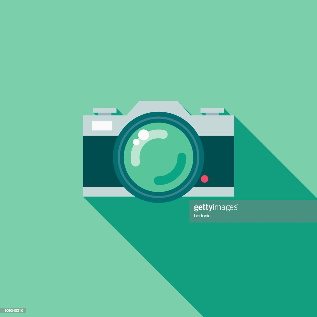 Wedding Flat Design Photography Icon with Side Shadow : stock illustration