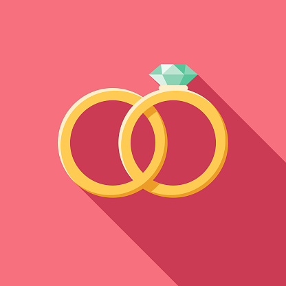 Wedding Flat Design Rings Icon with Side Shadow - gettyimageskorea