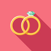 Wedding Flat Design Rings Icon with Side Shadow