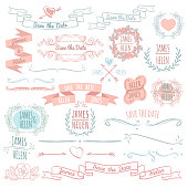 Wedding floral decoration elements vector collection with hand drawn wreath frames, banners and monograms