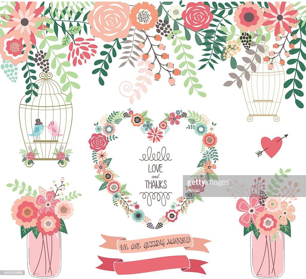 Wedding Floral Invitation.We Are Getting Married,Mason Jar Vector illustration