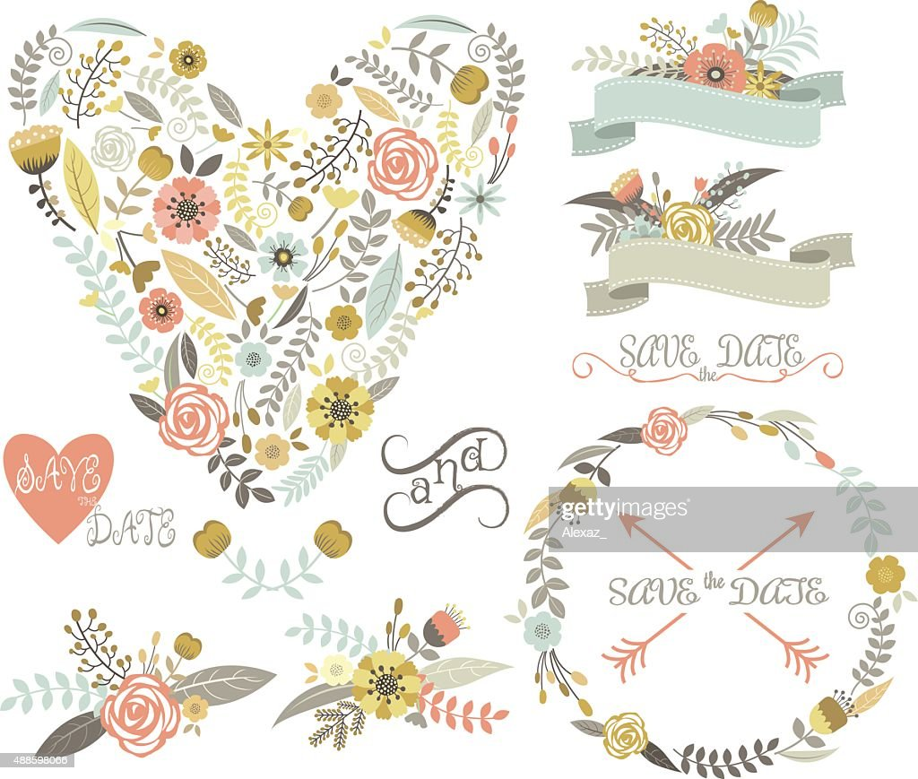 Wedding Floral Collection.Elements.Labels,Ribbons,Hearts,Arrows,Flowers,Wreaths,Laurel.