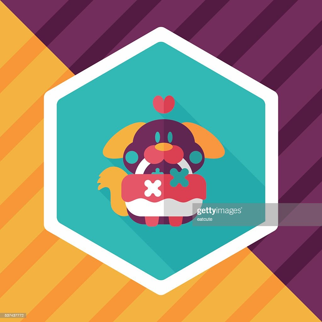 wedding flower dog flat icon with long shadow,eps10