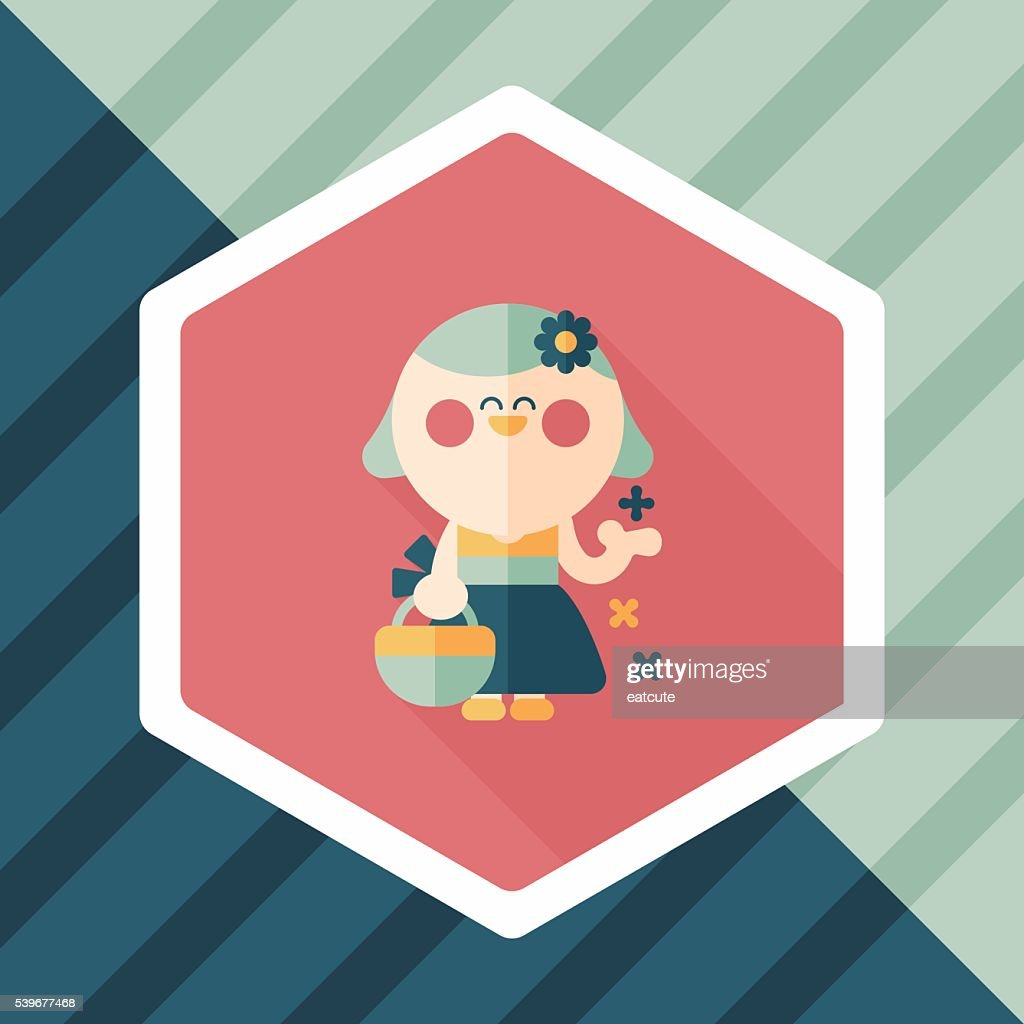 wedding flower girl flat icon with long shadow,eps10