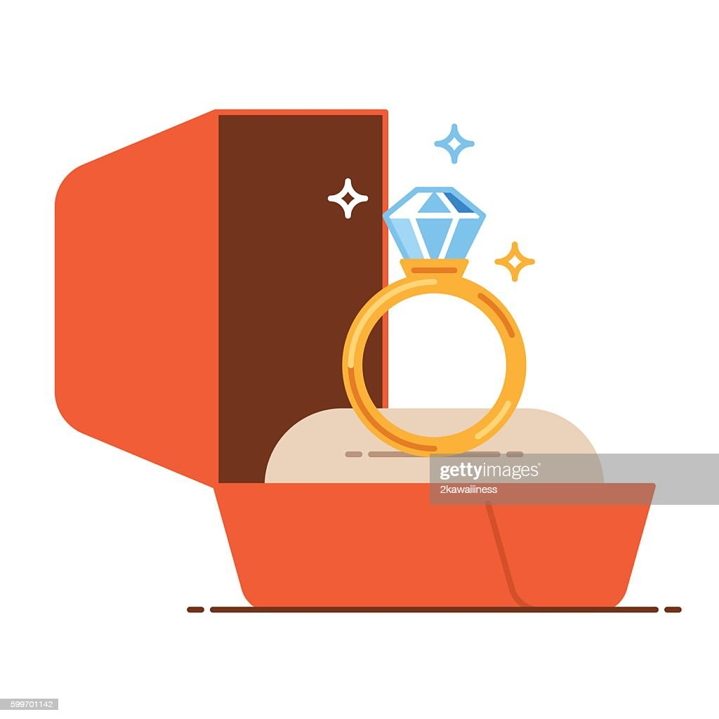 Wedding golden ring in a gift box. Save the date
