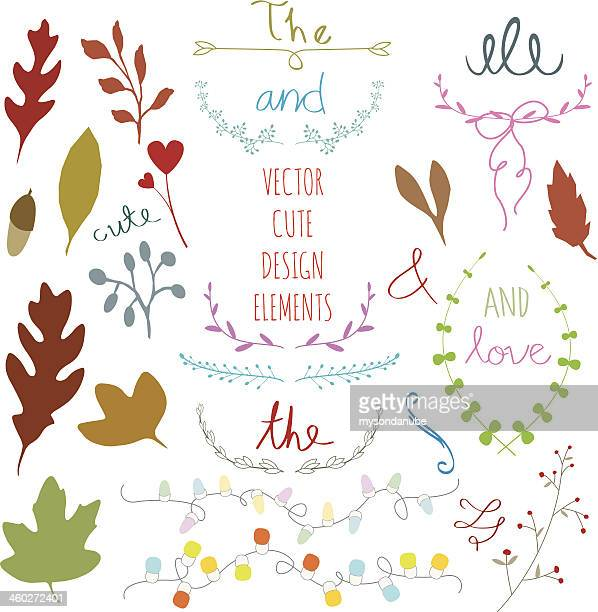wedding graphic set, leaves, laurel, wreaths and labels. - embellishment stock illustrations