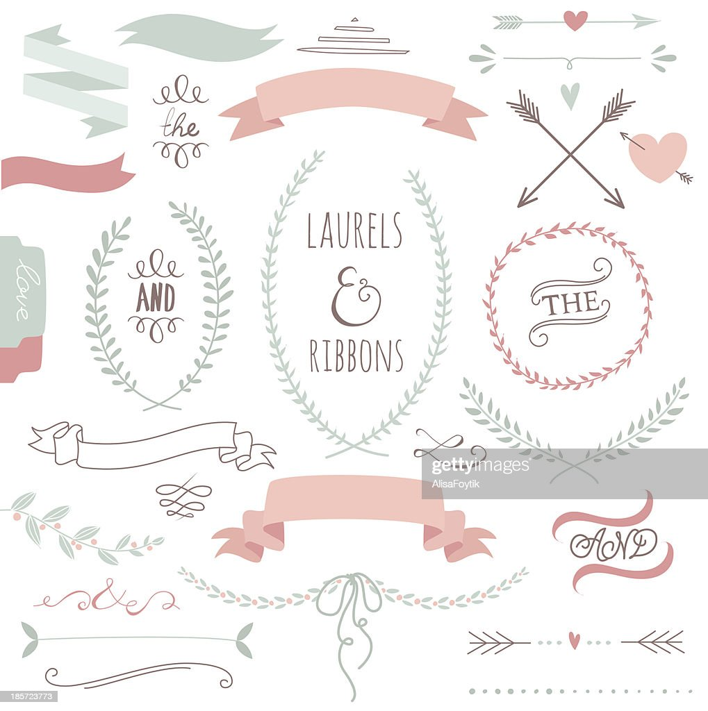 Wedding graphic set with ribbons and wreaths