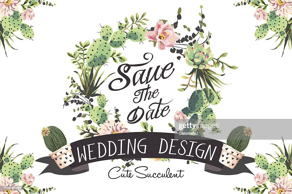 Wedding graphic set with succulents