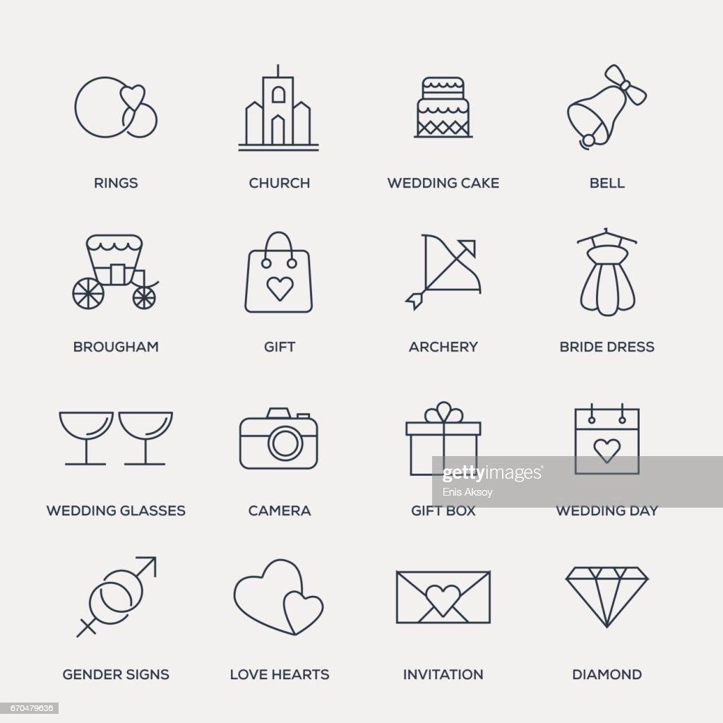 Wedding Icon Set - Line Series
