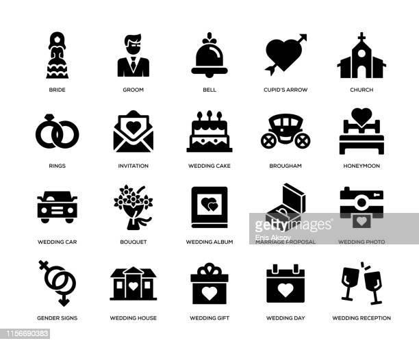 wedding icon set - wedding cake stock illustrations