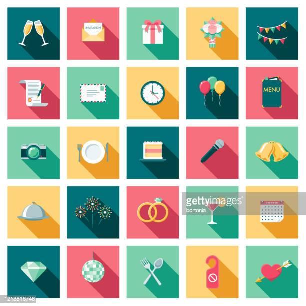 illustrazioni stock, clip art, cartoni animati e icone di tendenza di wedding icon set - composizione