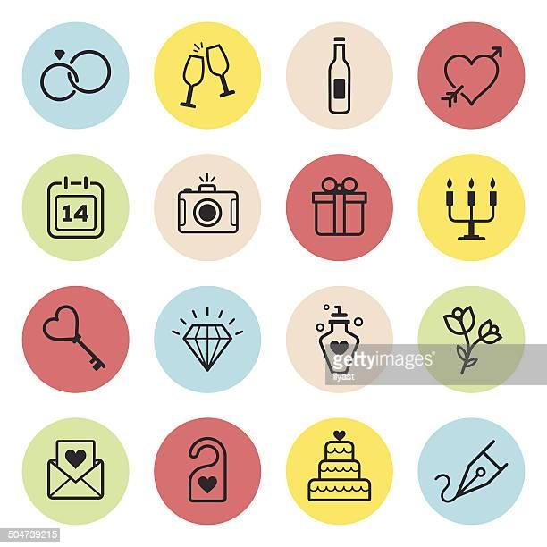 wedding icon set - honeymoon stock illustrations, clip art, cartoons, & icons