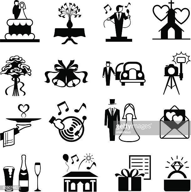 wedding icon set - chapel stock illustrations, clip art, cartoons, & icons