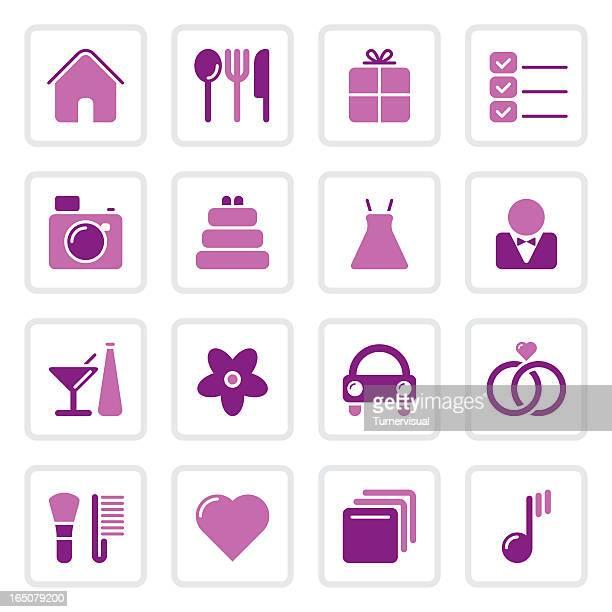 illustrazioni stock, clip art, cartoni animati e icone di tendenza di icone di nozze/4 colori - wedding planner
