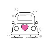 Wedding Icons Car Love with Outline Filled Style