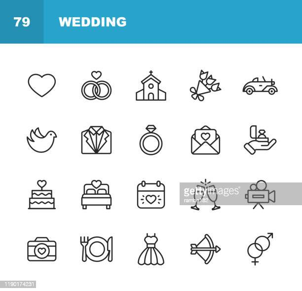 wedding icons. editable stroke. pixel perfect. for mobile and web. contains such icons as wedding, heart, love, dove, tuxedo, wedding dress, champagne, engagement ring, camera, photography, church. - ring stock illustrations