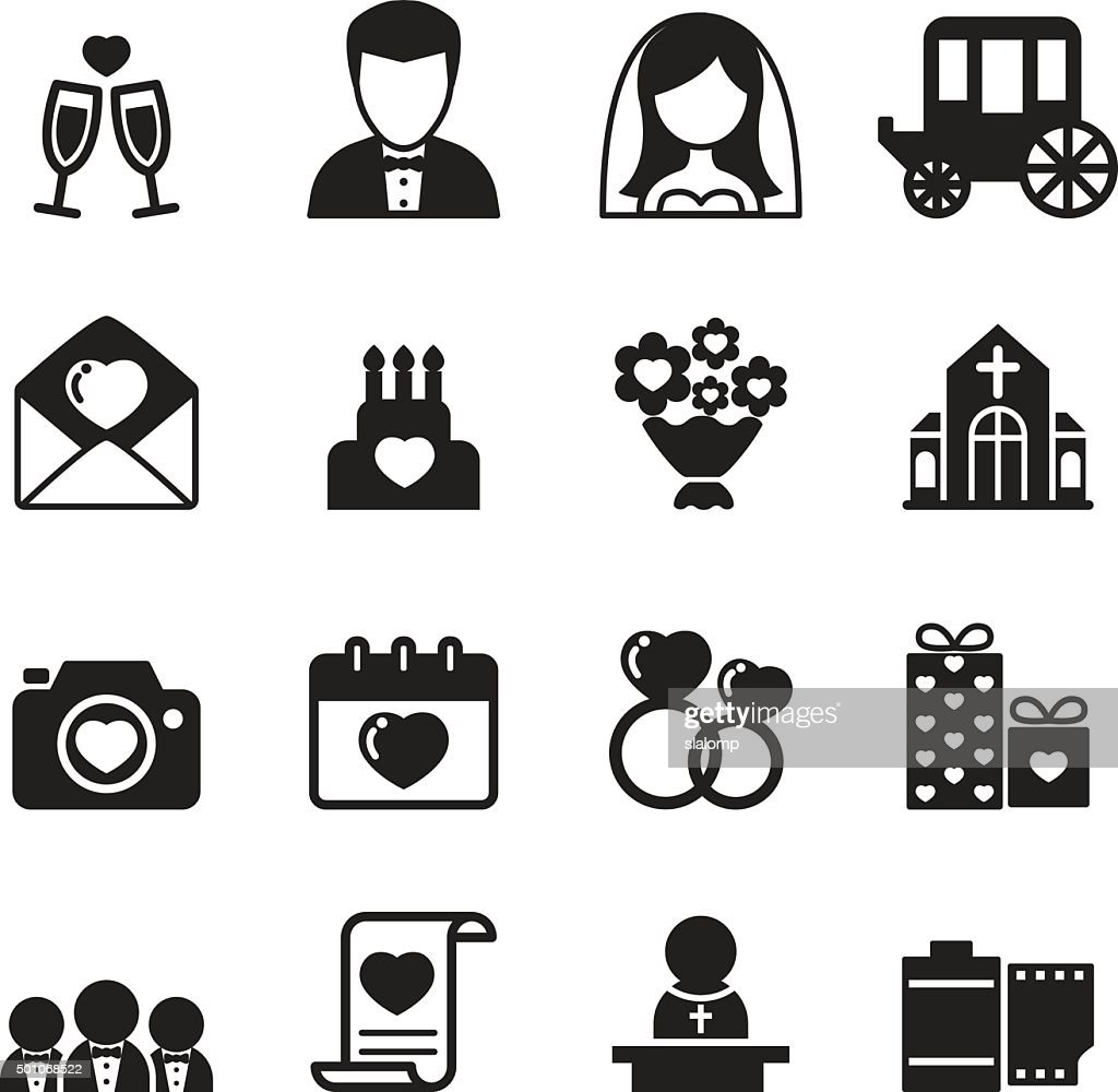 Wedding icons set Vector illustration