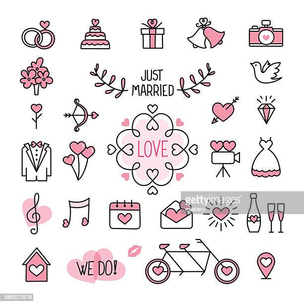 stockillustraties, clipart, cartoons en iconen met wedding icons - trouwen