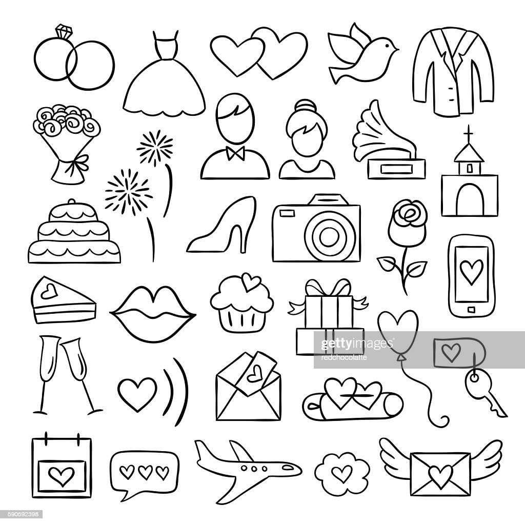 Wedding icons. Vector wedding and party illustrations. Hand drawn doodles