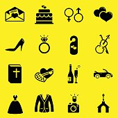 Wedding Icons-Yellow Background