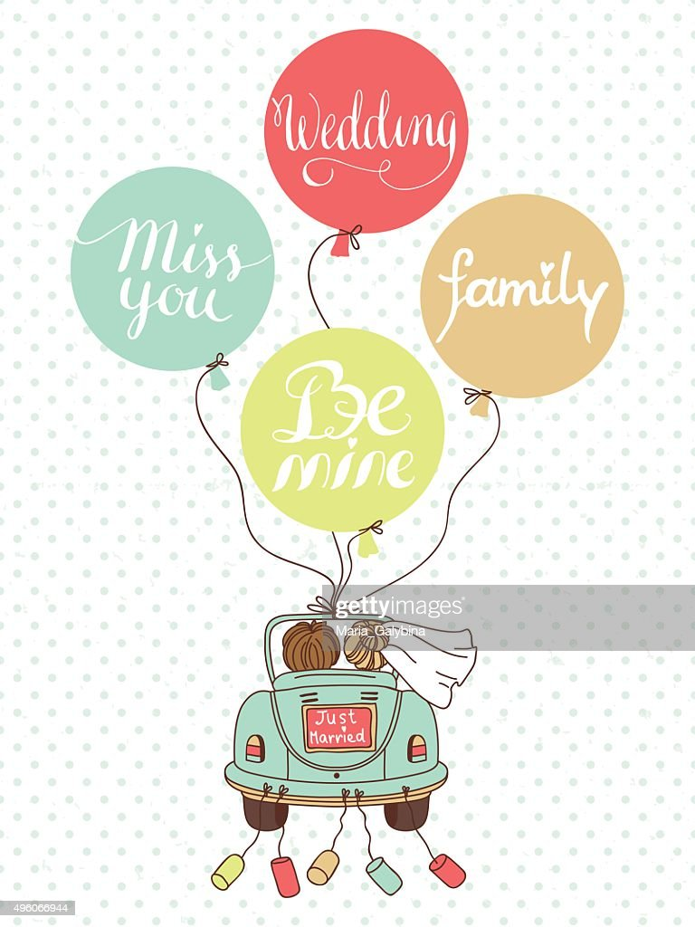 Wedding illustration with car, newlyweds and balloons!