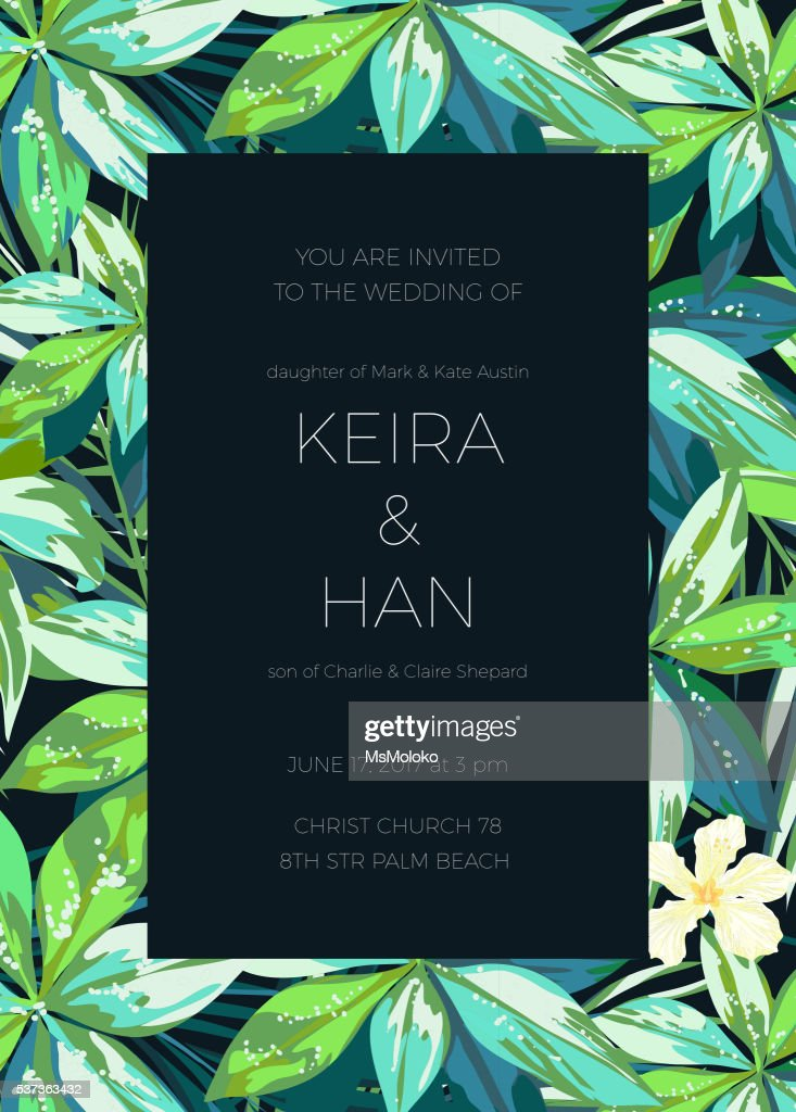 Wedding invitaion or card design with exotic tropical flowers and