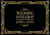wedding invitation art deco