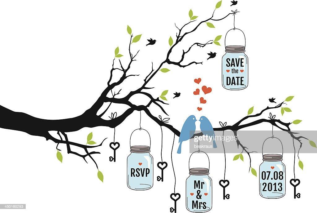 wedding invitation, birds on tree with jars, vector