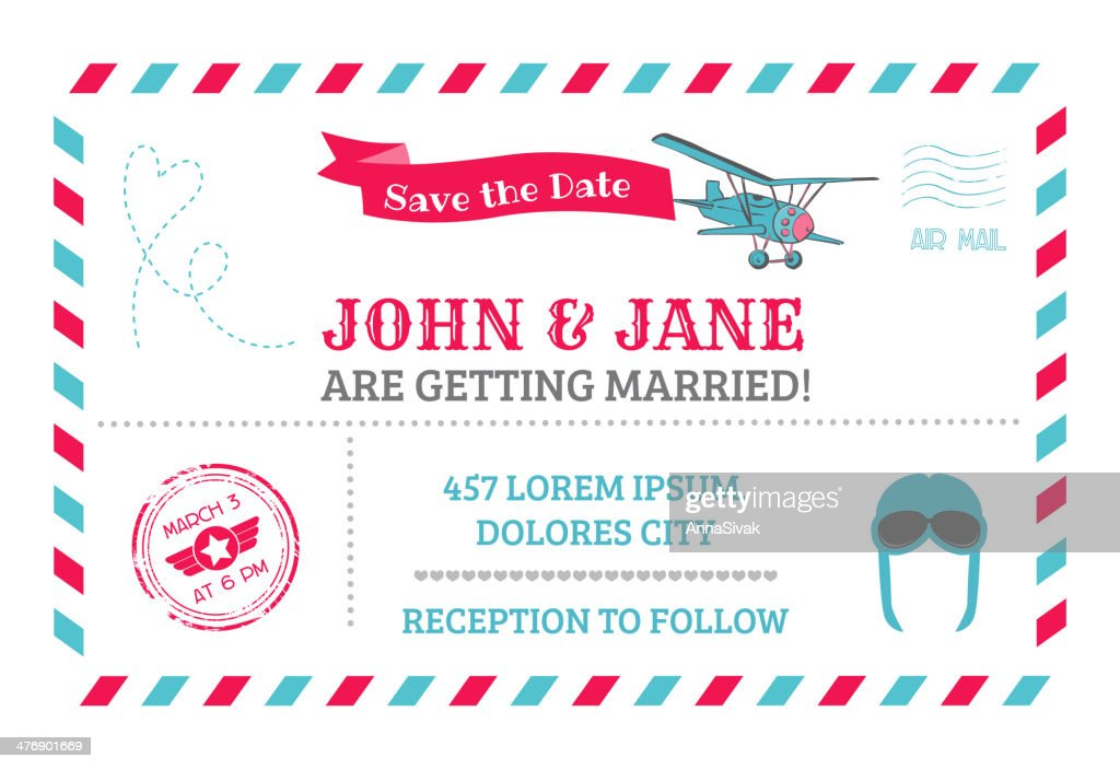 Wedding Invitation Card - Airplane Theme