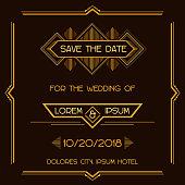 Wedding Invitation Card - Art Deco Style