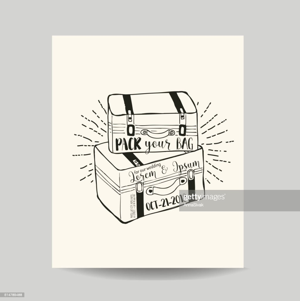 Wedding Invitation Card - Baggage and Suitcase Theme