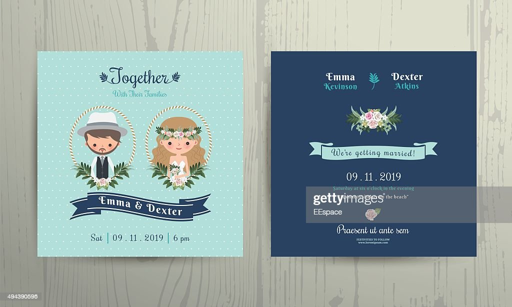 Wedding invitation card beach theme cartoon bride and groom portrait
