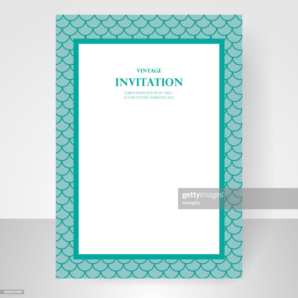 Wedding invitation card blue green fish scale pattern background wedding invitation card blue green fish scale pattern background mermaid design vector vector stopboris