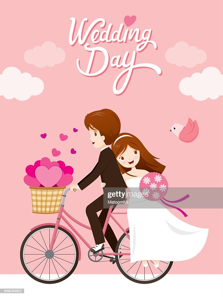 Wedding Invitation Card, Bride, Groom Riding Bicycle