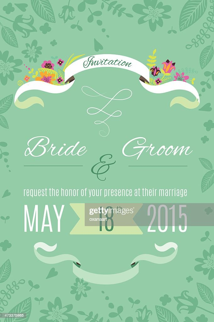 Wedding Invitation Card Design With Flowers Ribbons Hearts