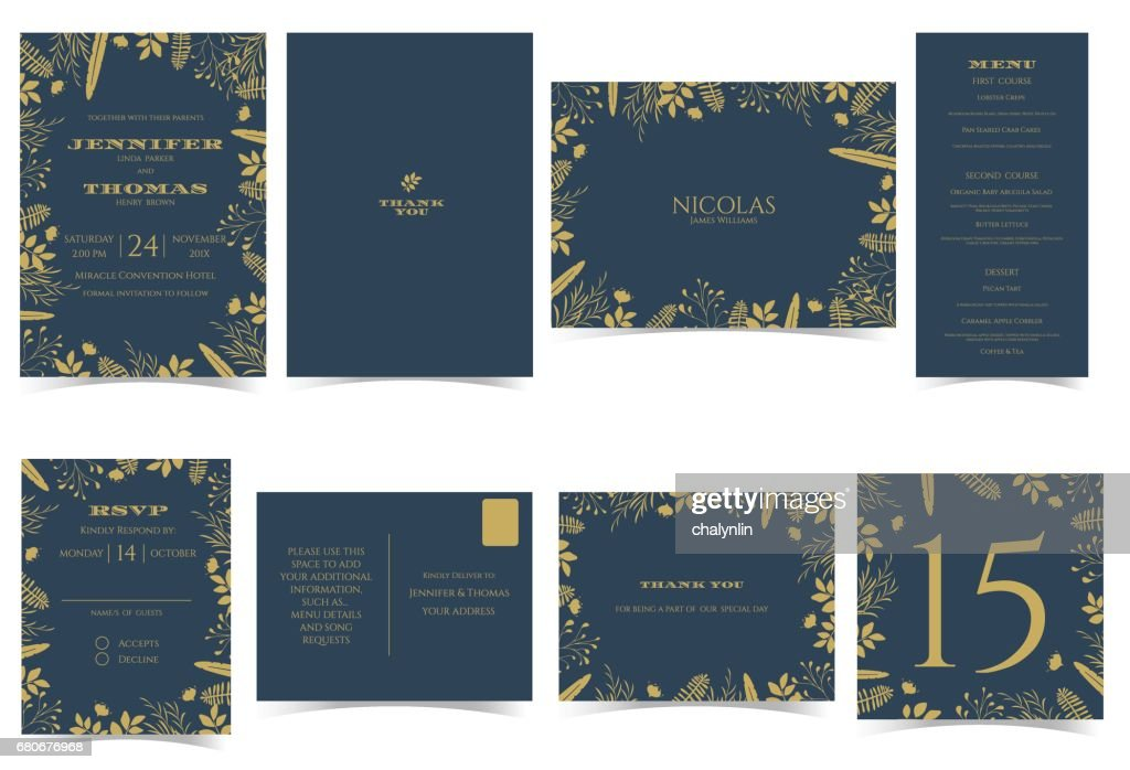 Wedding invitation card Formal style.Dark Blue and Gold Tone.