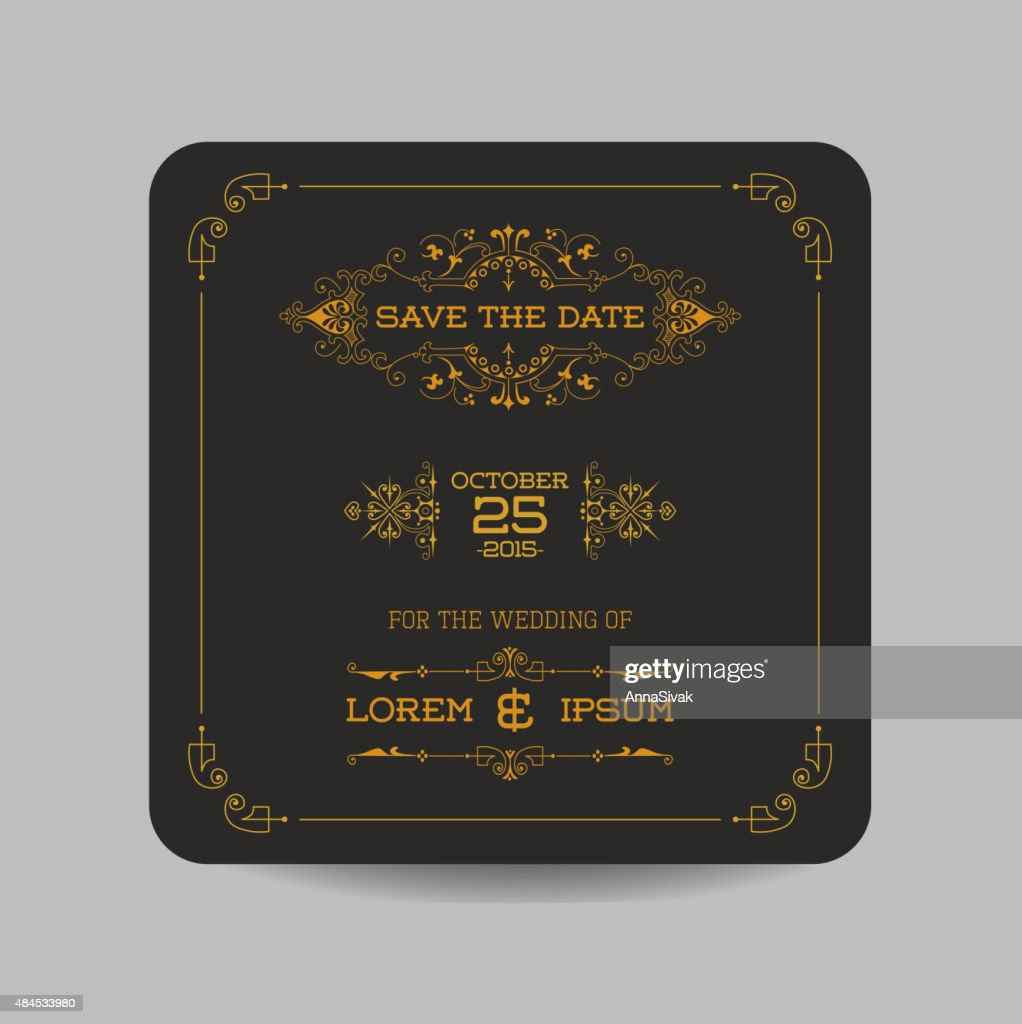 Wedding Invitation Card in Art Deco Style