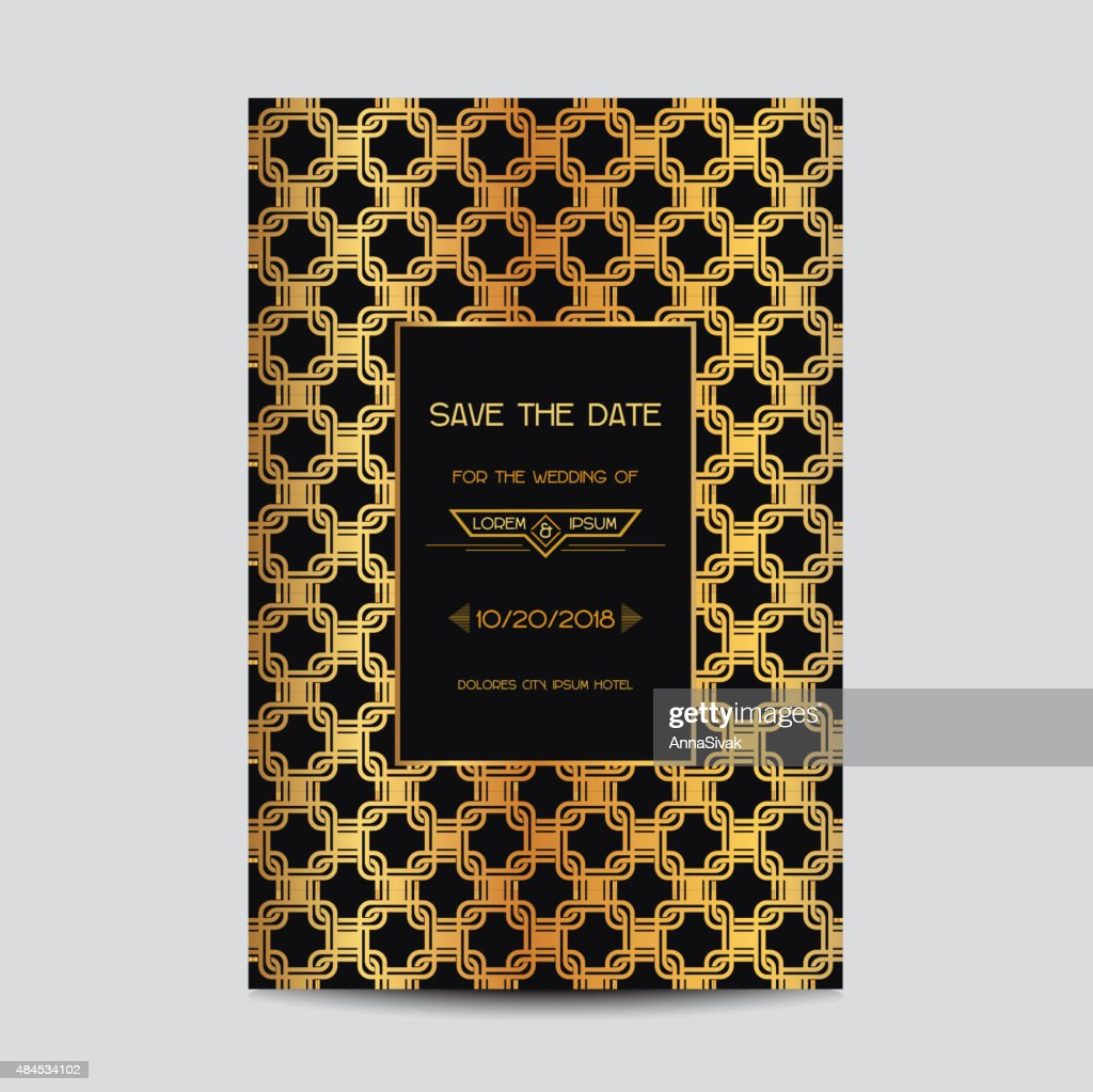 Wedding Invitation Card in Art Deco Vintage Style