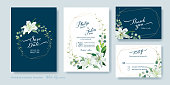 Wedding Invitation card, save the date, thank you, rsvp template. White lily flower, silver dollar plant, olive leaves, Wax flower.