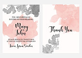 Wedding invitation card set, watercolor texture, vector illustration. Pink nude and black grunge watercolour stain isolated on white background, calligraphic text, elegant card design