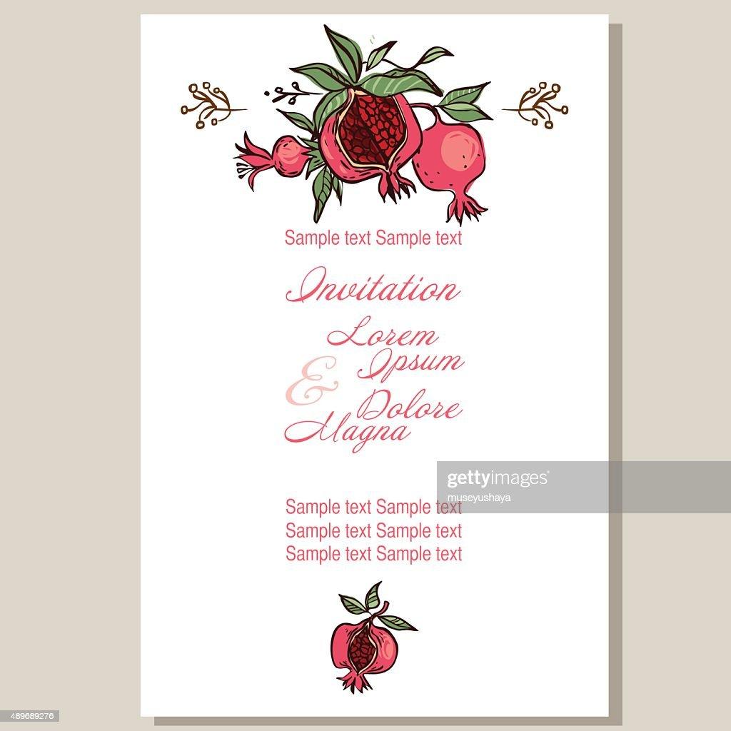 wedding invitation card suite with pomgranates. vector illustrat