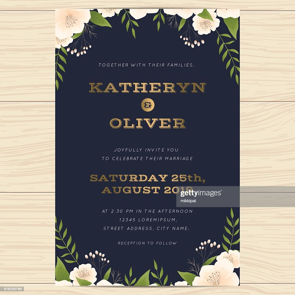 Wedding invitation card template with floral leaf in navy blue. : Arte vectorial