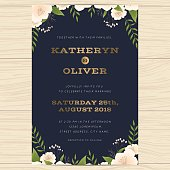 Wedding invitation card template with floral leaf in navy blue.