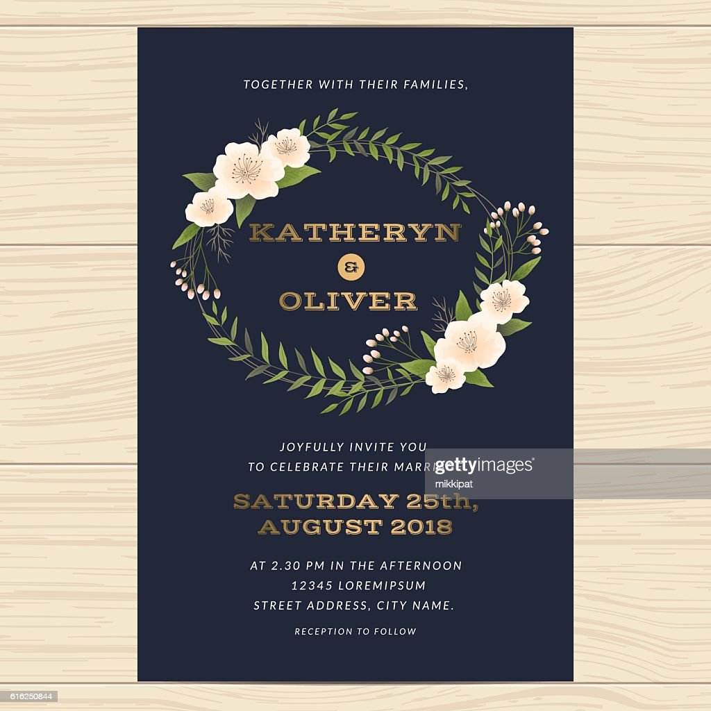 Wedding invitation card template with floral leaf in navy blue. : Vector Art