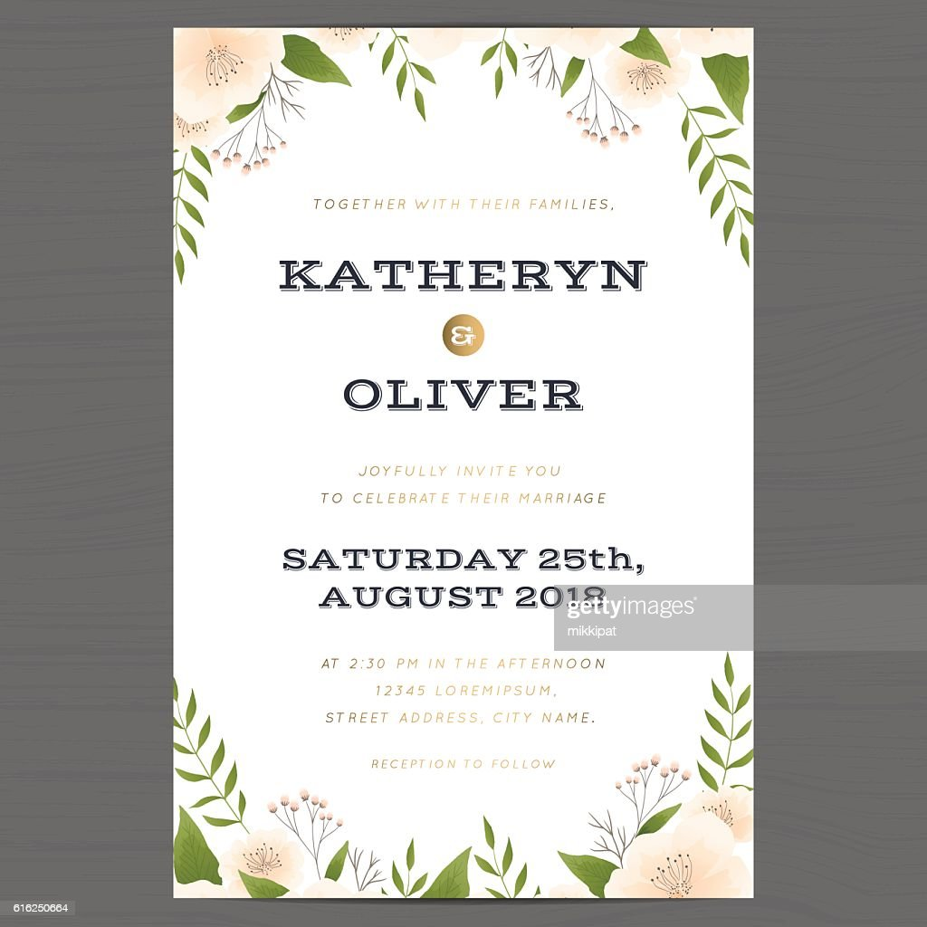 Wedding invitation card template with flower floral leaf background. : Arte vetorial
